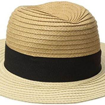 Goorin Bros. Women's Bobisha Two Tone Wide Brim Fedora Hat, Camel, Large
