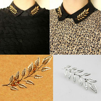 1pair Gold Silver Plated Romantic Olive Branch Leaves Brooches Alloy Collar Clip Shirt Brooch Pins Fashion Jewelry G1R9C