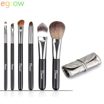 6pcs Professional Cosmetic Makeup Brushes Set Powder Foundation Angled Eyeshadow Lip Smokey Eye Kit (Color: Silver) = 1845635972