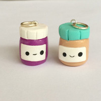 Polymer clay peanut butter and jelly jars, friendship charms, polymer clay food charm, cute food, peanut butter, jelly, kawaii