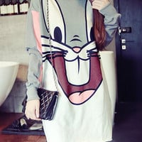 Cartoon Print Long Sleeve Mini Dress