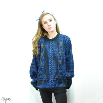 Vintage Geometric Patch Sweater • Black Leather • Diamond Patch • 1980s Sweater • Bill Cosby Sweater • Blue • Menswear