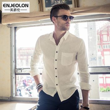Men shirts,Blouse 100% linen fabric Long Sleeve clothing Base solid Shirt Men Clothes