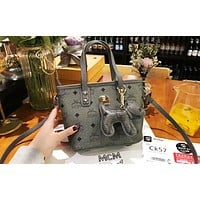 MCM new trend classic print women's wild shoulder bag shopping bag Messenger bag Grey