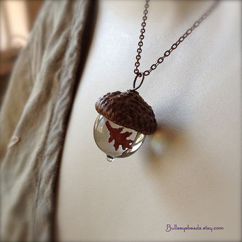 Glass Acorn Necklace  Encased Copper Oak Leaf  by bullseyebeads