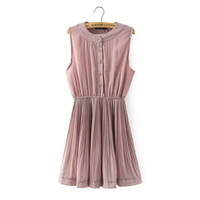 Button-Up Sleeveless Pleated Dress