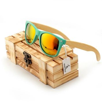 yjf00-green Bobobird Vintage Mirrored Polarized Bamboo Sunglasses Women's Men's Sunglasses in Wood Box