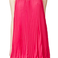 ROMWE Cut-out Flouncing Zippered Loose Rose Dress