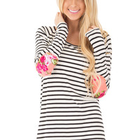White Striped Top with Floral Elbow Patches