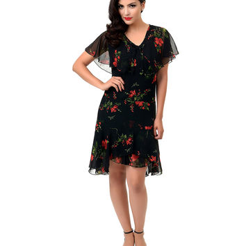 Hell Bunny 1930s Style Black & Red Floral Lily Chiffon Dress