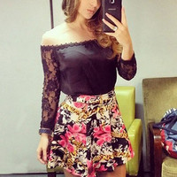 Sexy Backless Floral Casual Dress