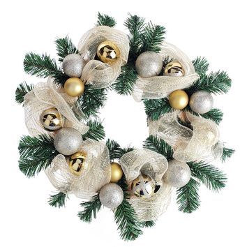 Decorated Gold Mesh Ribbon Christmas Wreath, Green/Champagne, 21-Inch