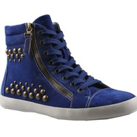 REFRESH MELBA-01 Women's lace up ankle high sneaker on rubber outsole with micro suede upper and side zipper and metal studs