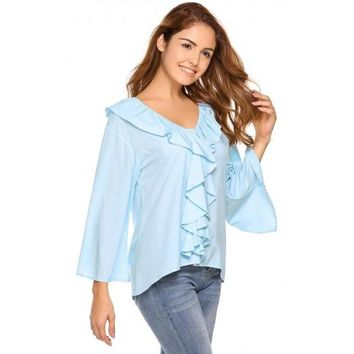 Sky Blue Solid Ruffles Front V-Neck Flare Sleeve Blouse