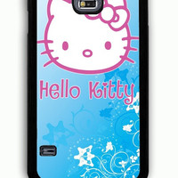 Samsung Galaxy S5 Case - Rubber (TPU) Cover with Hello Kitty Blue Rubber Case Design