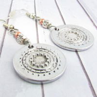 Silver Disc Earrings, Mixed Metal Earrings, Dangle Earrings, Boho Earrings, Boho Jewelry