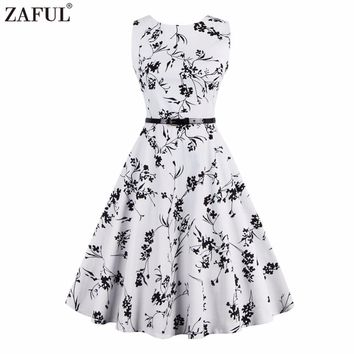 ZAFUL Women summer Retro vintage Rockabilly Dress Pin Up 4XL feminine Vestidos 50s Party Robe White Cotton Floral Print dress