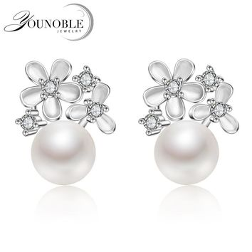 YouNoble Natural Pearl earring,Pearl with 925 Sterling Silver earring,Birthday gift Jewelry Accessories earrings for women White