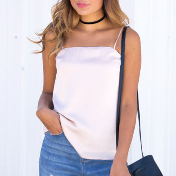 Blush Satin Cami Top