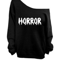 GRUNGE HORROR  off the  shoulder sweater, loose fit oversized   mizzombie