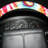 Tie die hippe lots of color steering wheel cover