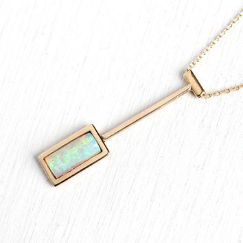 Genuine Opal Necklace - Retro 14k Rosy Yellow Gold Rectangle Gemstone Pendant - Vintage 1970s Era Fine Charm Drop Style Modern Gem Jewelry