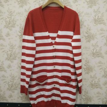 Fire Red and White Stripe Tunic Cardigan