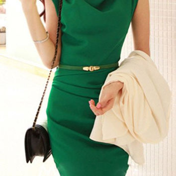 Green Cowl Neck Sleeveless Mini Dress