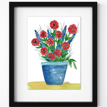 Red Flower Painting, Watercolor Flower arrangement, Blue Vase Floral Painting, Whimsical still life,  Cheerful Bright  bouquet, Not a print