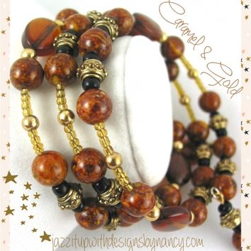 Beaded Wire Wrap Bangle Bracelet and Earrings Brown Riverstone Gold Black Gemstone