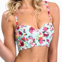 Women's Swim - Vintage Floral Bustier Top by Eve Swim - Parliament Clothing