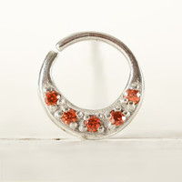Septum Ring Nose Ring Septum Jewelry Body Orange Strass Piercing  Sterling Silver Indian Style 14g 16g - SE027R SS ST03