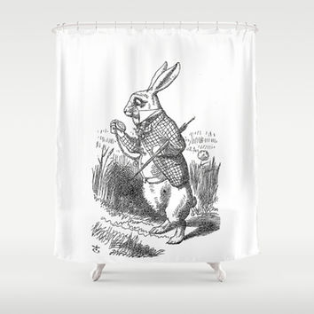 Vintage Alice in Wonderland the White Rabbit emo goth antique book drawing sketch art print Shower Curtain by iGallery