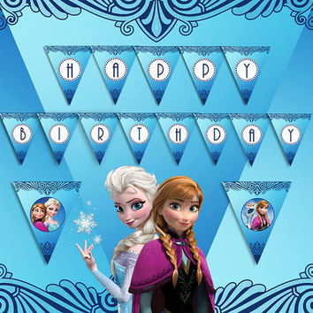 Frozen - Happy Birthday Banners - High Quality 300 DPI- Party Printables- Costumized