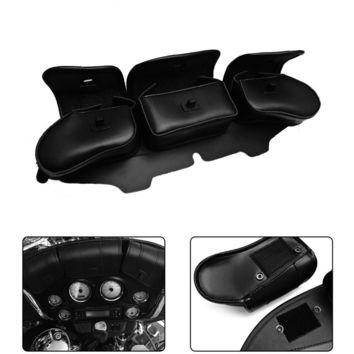 For Harley Touring Electra Street Glide Windshield Bag Saddle 3 Pouch Pocket Fairing for Harley 1996-2013