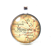 Vintage Map Pendant of Moscow, Russia, in Glass Tile Circle