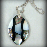 """Abalone Mother of Pearl Necklace - Black and White Abalone Pendant on Sterling Silver Chain - 18"""""""
