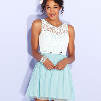 BCX Juniors Dress, Sleeveless Colorblock Lace A-Line - Juniors Prom Dresses - Macy's