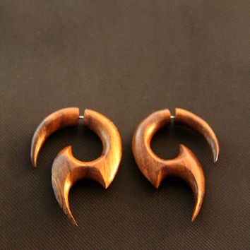 "Handmade Wood Earrings, Fake Gauges Spiral Earring w Tribal Spiral Design, ""Dana"" Wooden Earrings"
