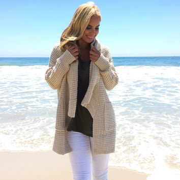 Waffle Knit Sweater Cardigan In Cream