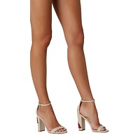 Kissed By A Rose Embroidered Block Heel Nude