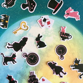 32 Alice in wonderland sticker dream world magic clock black rabbit sticker Fancy fairy tale sticker Alice in wonderland theme sticker gift