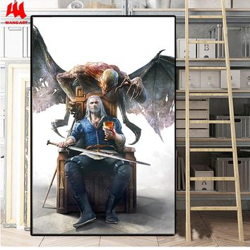 WANGART the Witcher 3 Canvas Print Hunting Wild Game Cirilla Geralt Wall Pictures for Living Room Modern Home Decor JY617-625