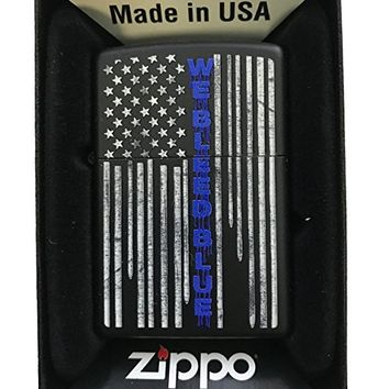 "Zippo Custom Lighter - ""We Bleed Blue"" Blue Line Police Flag Support - Black Matte"