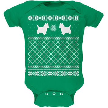 Yorkie Ugly Christmas Sweater Kelly Green Soft Baby One Piece