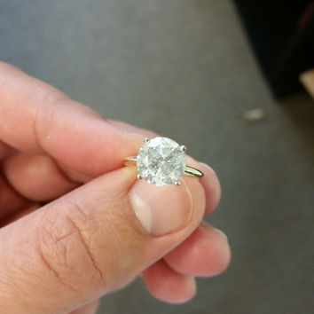 3.69 Carat Round E SI3 Diamond 14k White Gold Ring IGL Certified Nice Size! Anniversary Solitaire Certified Jewelry Grand Opening Sale !!!