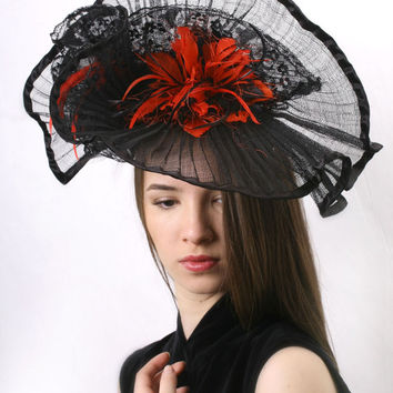 Black and Red Evening Kentucky derby fascinator, Royal Ascot Hat, Haute Couture Hat headpiece with feathers and lace by Irina Sardareva