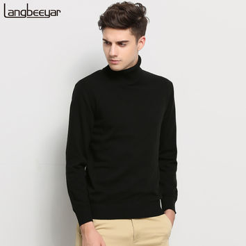 Hot 2016 New Autumn Winter Brand Clothing Sweater Men Turtleneck Slim Fit Winter Pullover Men Solid Color Knitted Sweater Men