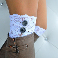 White Lace Boot Cuffs-lace cuffs-boot accessories