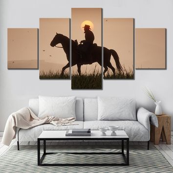 5 Piece Canvas Paintings Red Dead Redemption 2 Games Poster Gutch's Gang Arthur Morgan Western Games Wall Art for Home Decor